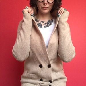 J crew 6 button two pocket collared beige cardigan